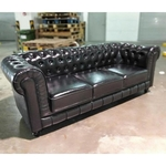 PRE-ORDER SALVADO II 3 Seater Chesterfield Sofa in Gloss Black PU - Est Delivery in Early May 2021