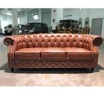 BOTTEVA Chesterfield 3 Seater Sofa in GLOSS BROWN PU