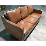 PRE-ORDER VALENTE 3 Seater Sofa in Gloss Brown PU - Est Delivery in Early May 2021