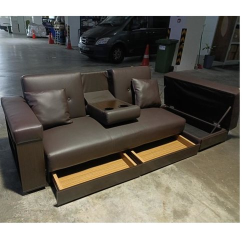 MIKO Storage Sofa Bed in BROWN PU