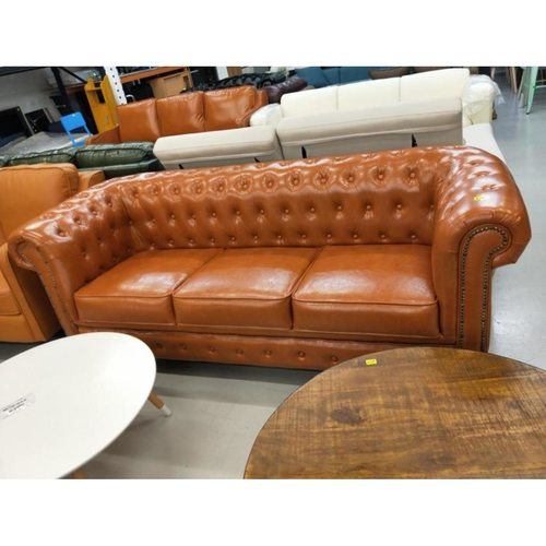 PRE-ORDER SALVADORE X 3 Seater Chesterfield Sofa in Gloss Brown PU - Est Delivery in Early May 2021