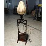 LOTUS BLOOM Oriental Vintage Teakwood Floor Lamp