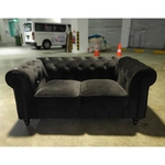 SALVADO 2 Seater Classical Chesterfield Sofa in BLACK VELVET