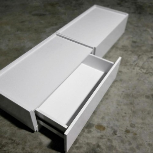 STRATE Stackable Low Profile TV Console in WHITE
