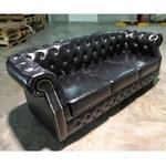 BOTTEVA Chesterfield 3 Seater Sofa in GLOSD BLACK PU