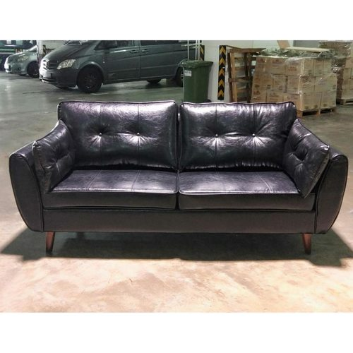 MOVICK Series II Designer 3 Seater Sofa in GLOSS BLACK PU