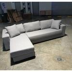 RAXXON L-Shaped Sofa in LIGHT GREY FABRIC - RIGHT WHEN SEATED