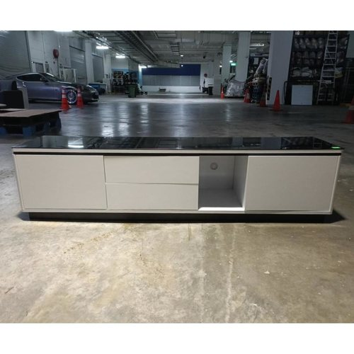 DANCHEV WHITE Lacquered TV Cabinet with BLACK TEMPERED GLASS TOP