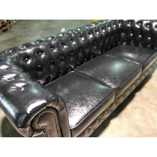 (PRE-ORDER) SALVADORE X 3 SEATER Chesterfield Sofa in GLOSS BLACK PU - Estimated for Delivery in End Delivery 2021