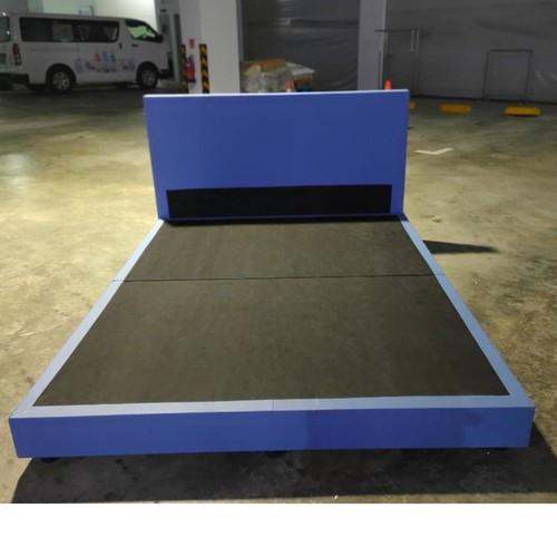 GASTEN II Faux Leather Queen Bed frame in BLUE
