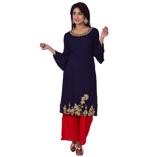 Ananda Jaipur Kurta and Palazzo Set Embroidered 3/4th Sleeve Blue Emboirdered Kurti with Printed Plazzo