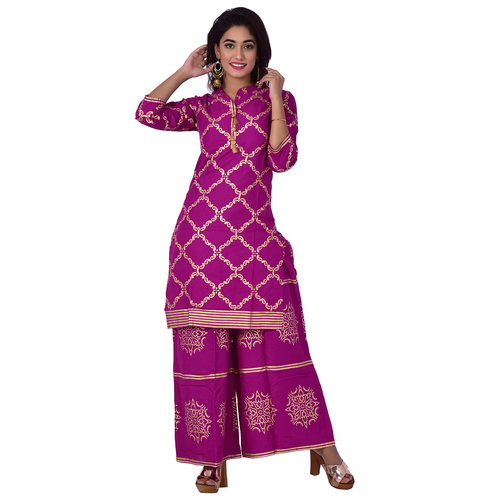 Ananda Jaipur Kurta and Palazzo Set Graphic Print 3/4th Sleeve Purple Chain Printed Kurti and Buta Printed Plazzo