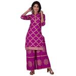 Ananda Jaipur Kurta and Palazzo Set Graphic Print 3/4th Sleeve Purple Chain Printed Kurti and Buta Printed Plazzo