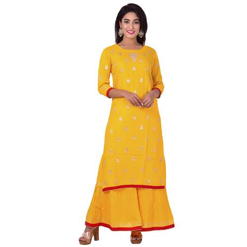 Ananda Jaipur Kurta and Sharara Set Embellished 3/4th Sleeve Yellow Gota Patti Embelished Kurti and Plazzo With Borders