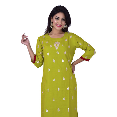 Ananda Jaipur Kurta and Sharara Set Embellished 3/4th Sleeve Green Gota Patti Embelished Kurti and Plazzo With Borders