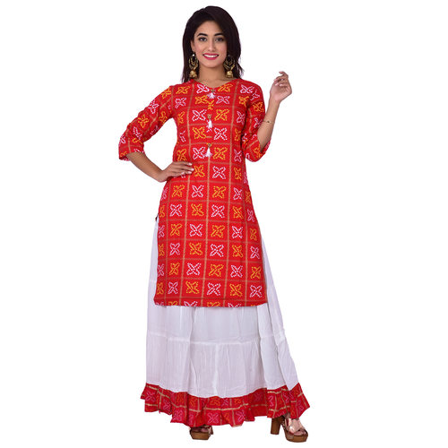 Ananda Jaipur Kurta and Skirt Set Printed 34th Sleeve Red Gold Printed Bandani Kurti with Plain White Skirt with Borders