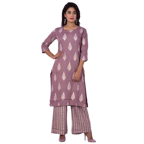 Ananda Jaipur Kurta and Palazzo Set Paisley 3/4th Sleeve Purple Silver Printed Kurti and Printed Plazzo