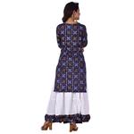 Ananda Jaipur Kurta and Skirt Set Printed 3/4th Sleeve Blue Gold Printed Bandani Kurti with Plain White Skirt with Borders