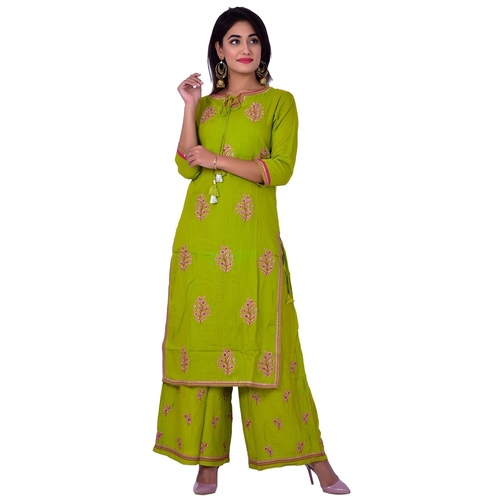 Ananda Jaipur Kurta and Palazzo Set Embroidered 3/4th Sleeve Green Embroidered Kurti with Embroidered Plazzo
