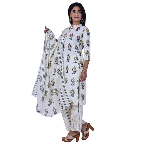 Floral Printed Cotton Kurti and Plazzo and Printed Malmal Dupatta Set