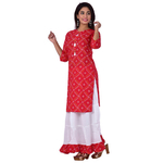 Ananda Jaipur Kurta and Skirt Set Printed 3/4th Sleeve Red Gold Printed Bandani Kurti with Plain White Skirt with Borders