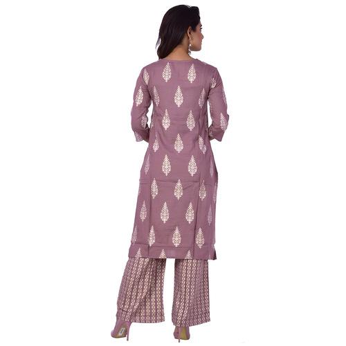 Ananda Jaipur Kurta and Palazzo Set Paisley 3/4th Sleeve Purple Silver Printed Kurti and Printed Plazzo