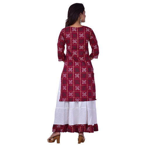 Ananda Jaipur Kurta and Skirt Set Printed 3/4th Sleeve Maroon Gold Printed Bandani Kurti with Plain White Skirt with Borders