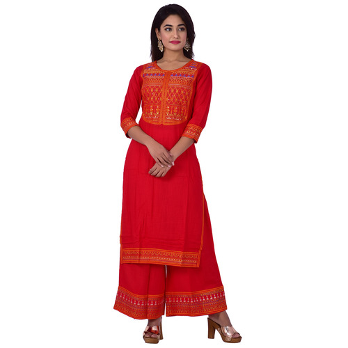 Ananda Jaipur Kurta and Palazzo Set Embroidered 3/4th Sleeve Red Embroidered Body and Border in Kurti and Embroidered Border Plazzo