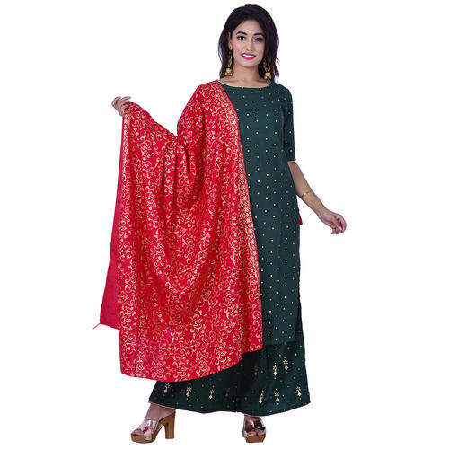 Ananda Jaipur Kurta and Palazzo Set Polka Print Short Sleeve Green Polka dot printed Kurti with Printed Plazzo and Dupatta