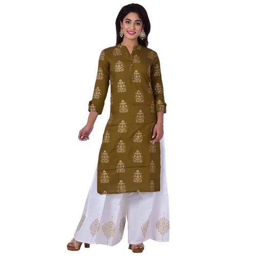 Ananda Jaipur Kurta and Palazzo Set Printed 3/4th Sleeve Green Ethnic Floral Printed Kurti with Buta Printed Plazzo