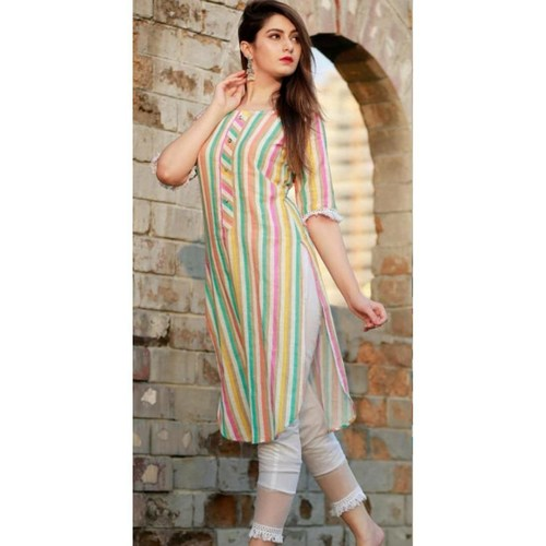Multicolored New Party Wear Cotton Digital Lining Kurti Pant Set