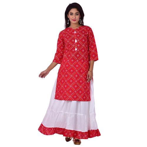 Ananda Jaipur Kurta and Skirt Set Printed 3/4th Sleeve Red Gold Printed Bandani Kurti with Plain White Skirt with Borders