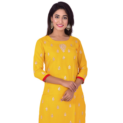 Ananda Jaipur Kurta and Sharara Set Embellished 3/4th Sleeve Yellow Gota Patti Embelished Kurti and Plazzo With Borders