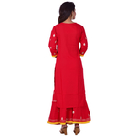 Ananda Jaipur Kurta and Sharara Set Embellished 3/4th Sleeve Red Gota Patti Embelished Kurti and Plazzo With Borders