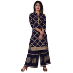 Ananda Jaipur Kurta and Palazzo Set Graphic Print 3/4th Sleeve Black Chain Printed Kurti and Buta Printed Plazzo