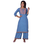 Ananda Jaipur Kurta and Palazzo Set Embroidered 3/4th Sleeve Blue Floral Embroidered Body with Border Kurti and Plazzo Set