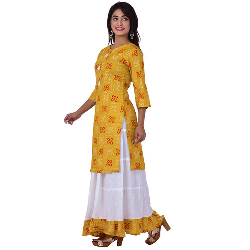 Ananda Jaipur Kurta and Skirt Set Printed 3/4th Sleeve Yellow Gold Printed Bandani Kurti with Plain White Skirt with Borders