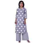 Ananda Jaipur Kurta and Palazzo Set Printed 3/4th Sleeve Grey Big polka Printed Kurti and Strip Printed Plazzo