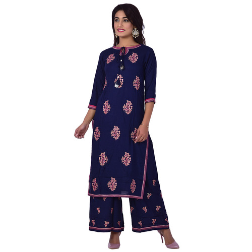 Ananda Jaipur Kurta and Palazzo Set Embroidered 3/4th Sleeve Blue Embroidered Kurti with Embroidered Plazzo