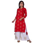 Ananda Jaipur Kurta and Palazzo Set Tribal Print 34th Sleeve Red Ethnic Floral Printed Kurti with Buta Printed Plazzo