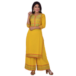 Ananda Jaipur Kurta and Palazzo Set Embroidered 3/4th Sleeve Yellow Embroidered Body and Border in Kurti and Embroidered Border Plazzo