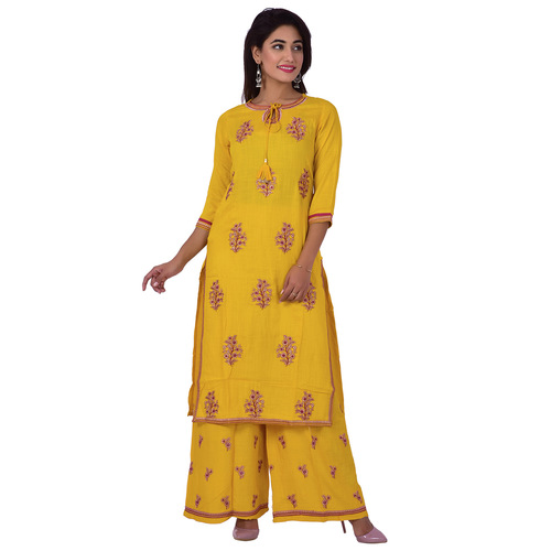 Ananda Jaipur Kurta and Palazzo Set Embroidered 3/4th Sleeve Yellow Embroidered Kurti with Embroidered Plazzo