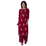 Ananda Jaipur Kurta and Palazzo Set Embroidered 3/4th Sleeve Red Embroidered Kurti with Embroidered Plazzo