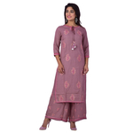 Ananda Jaipur Kurta and Palazzo Set Embroidered 3/4th Sleeve Purple Embroidered Kurti with Embroidered Plazzo