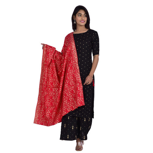 Ananda Jaipur Kurta and Palazzo Set Polka Print Short Sleeve Black Polka dot printed Kurti with Printed Plazzo and Dupatta