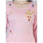 Women's Embroidered Cotton Kurta With Pant Set (Light Pink)