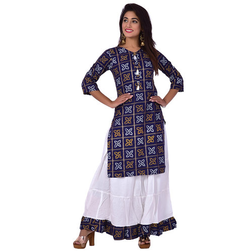 Ananda Jaipur Kurta and Skirt Set Printed 3/4th Sleeve Blue Gold Printed Bandani Kurti with Plain White Skirt with Borders