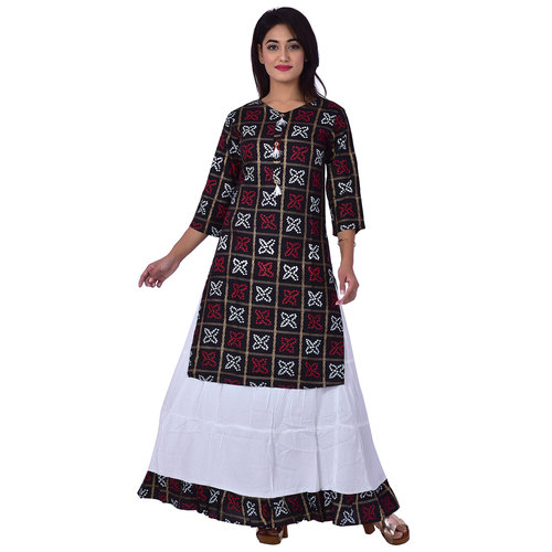 Ananda Jaipur Kurta and Skirt Set Printed 3/4th Sleeve Black Gold Printed Bandani Kurti with Plain White Skirt with Borders