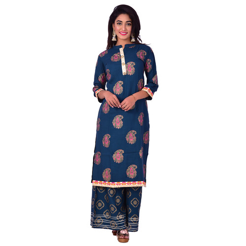 Ananda Jaipur Kurta and Palazzo Set Paisley 3/4th Sleeve Blue Paisley printed with Floral Embroidered