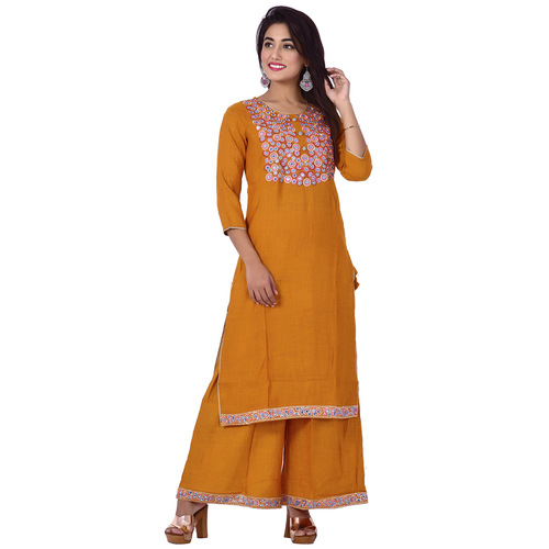 Ananda Jaipur Kurta and Palazzo Set Embroidered 3/4th Sleeve Yellow Floral Embroidered Body with Border Kurti and Plazzo Set